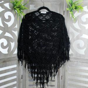 White House Black Market Crochet Black  Poncho